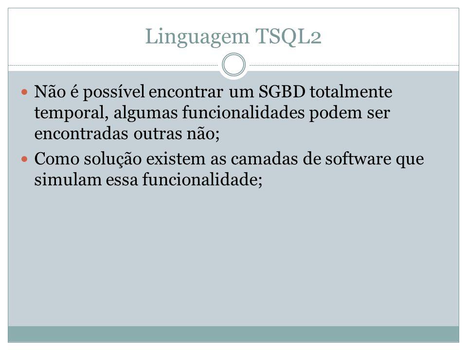 Linguagem TSQL2 Não é possível encontrar um SGBD totalmente temporal, algumas funcionalidades podem ser encontradas outras não;