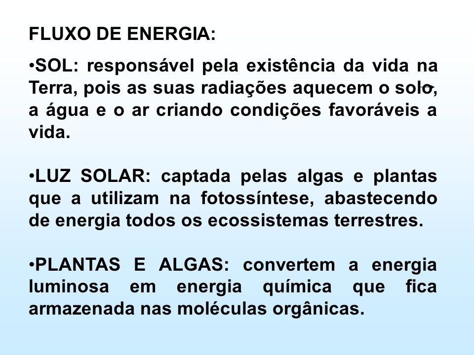 FLUXO DE ENERGIA: