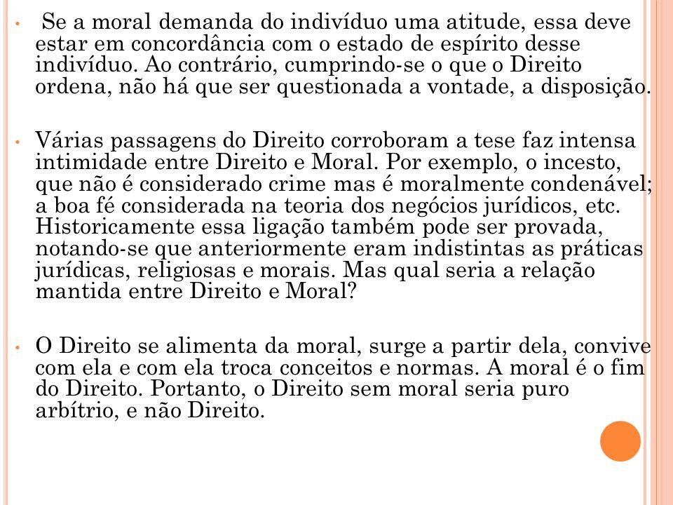 Se a moral demanda do indivíduo uma atitude, essa deve estar em concordância com o estado de espírito desse indivíduo. Ao contrário, cumprindo-se o que o Direito ordena, não há que ser questionada a vontade, a disposição.