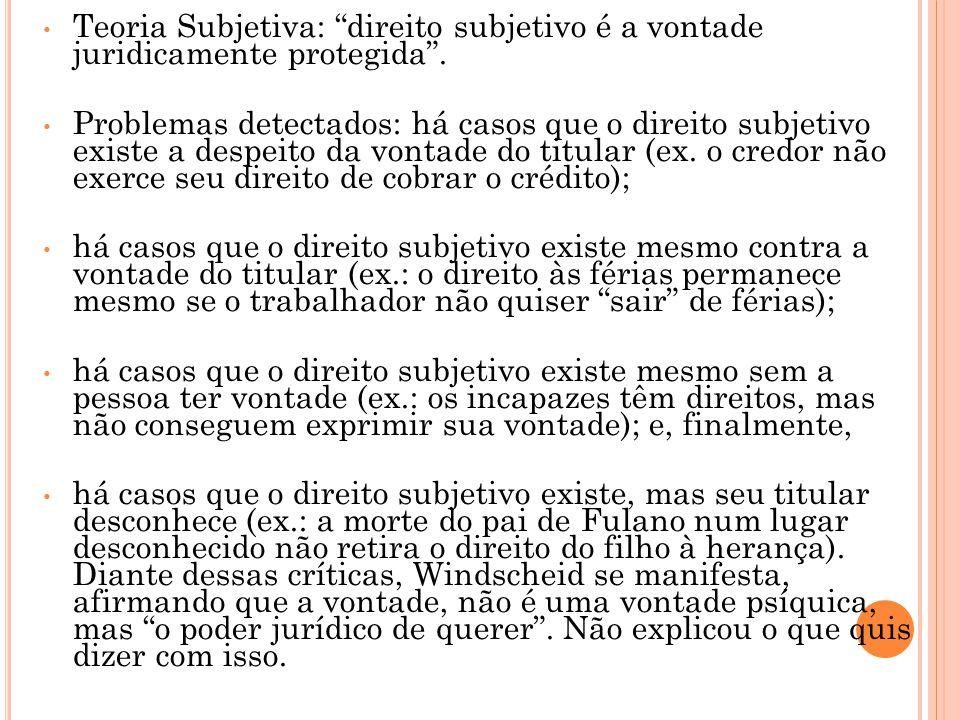 Teoria Subjetiva: direito subjetivo é a vontade juridicamente protegida .