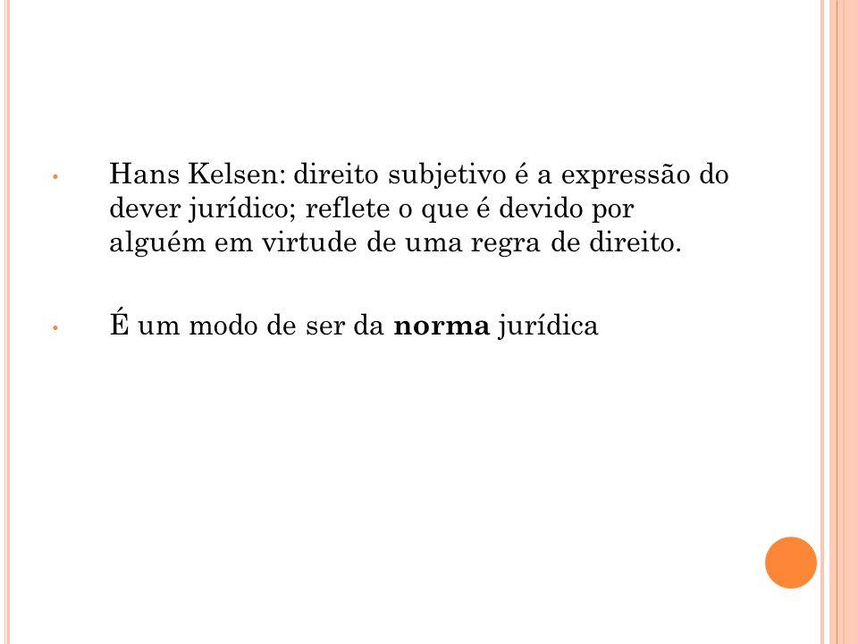 Hans Kelsen: direito subjetivo é a expressão do dever jurídico; reflete o que é devido por alguém em virtude de uma regra de direito.