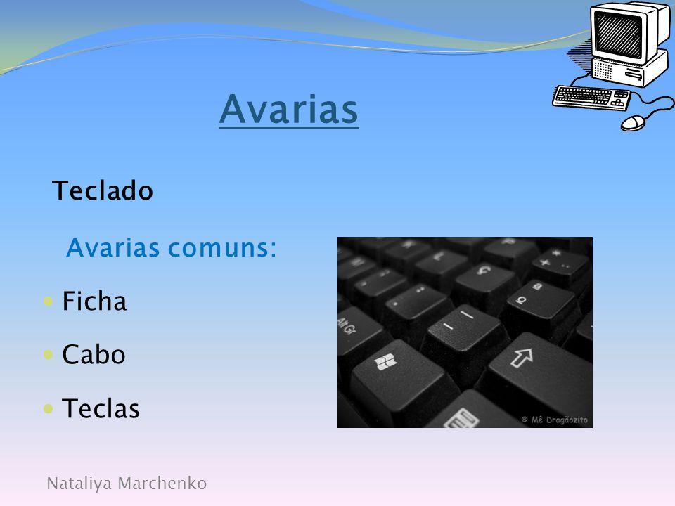 Avarias Teclado Avarias comuns: Ficha Cabo Teclas