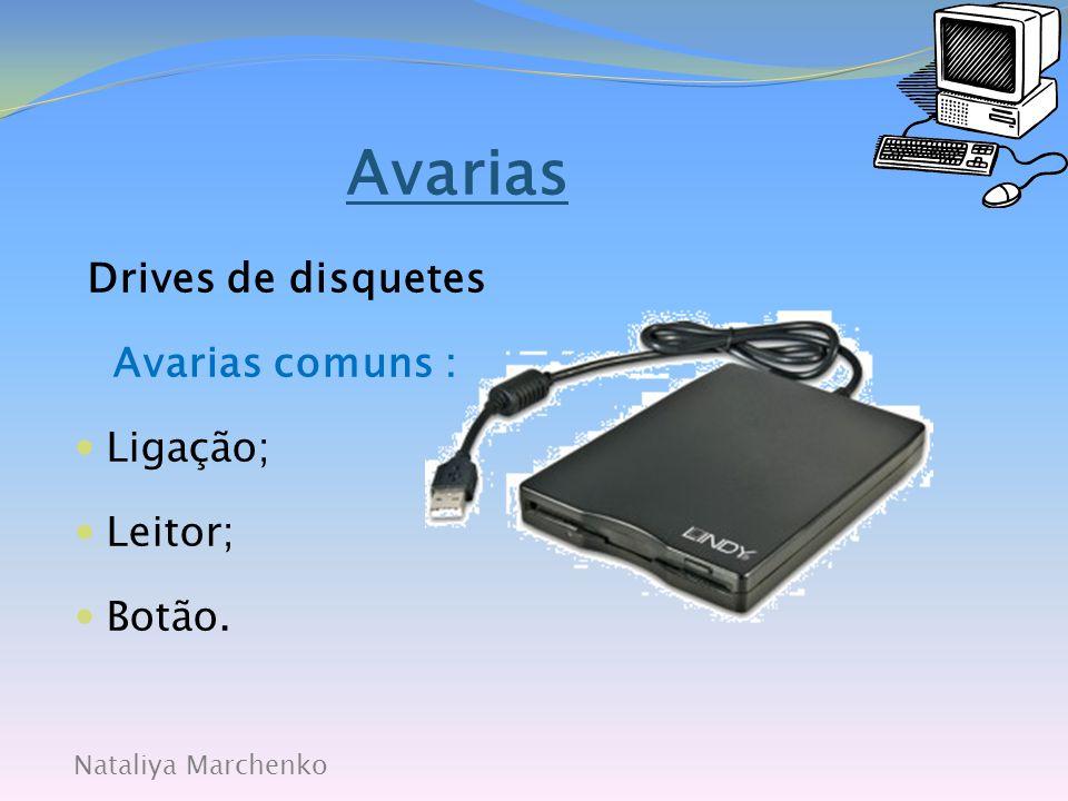 Avarias Drives de disquetes Avarias comuns : Ligação; Leitor; Botão.