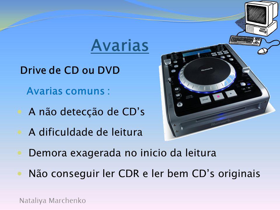Avarias Drive de CD ou DVD Avarias comuns : A não detecção de CD's