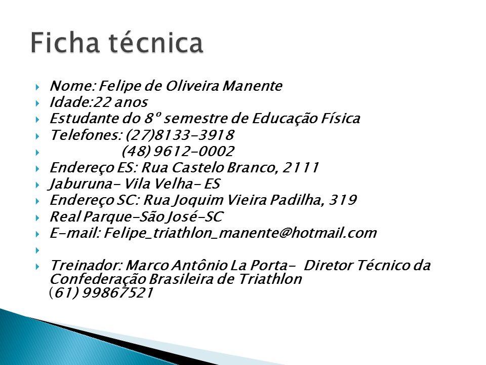Ficha técnica Nome: Felipe de Oliveira Manente Idade:22 anos