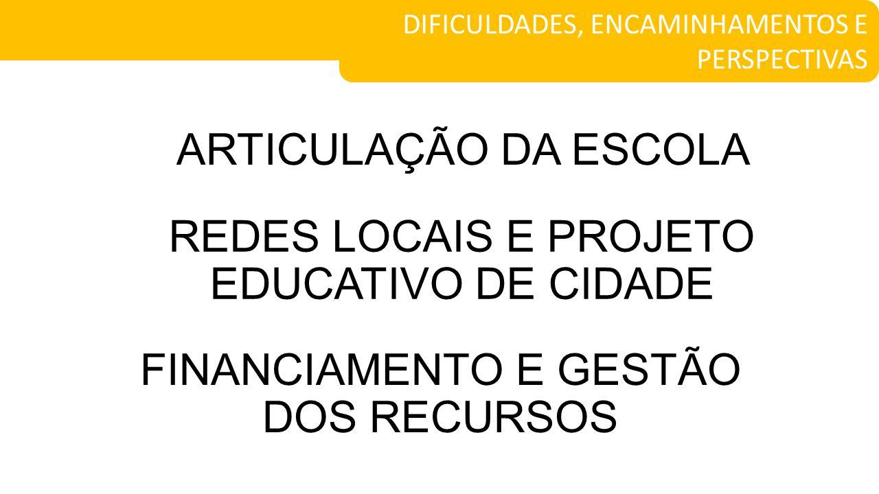 REDES LOCAIS E PROJETO EDUCATIVO DE CIDADE