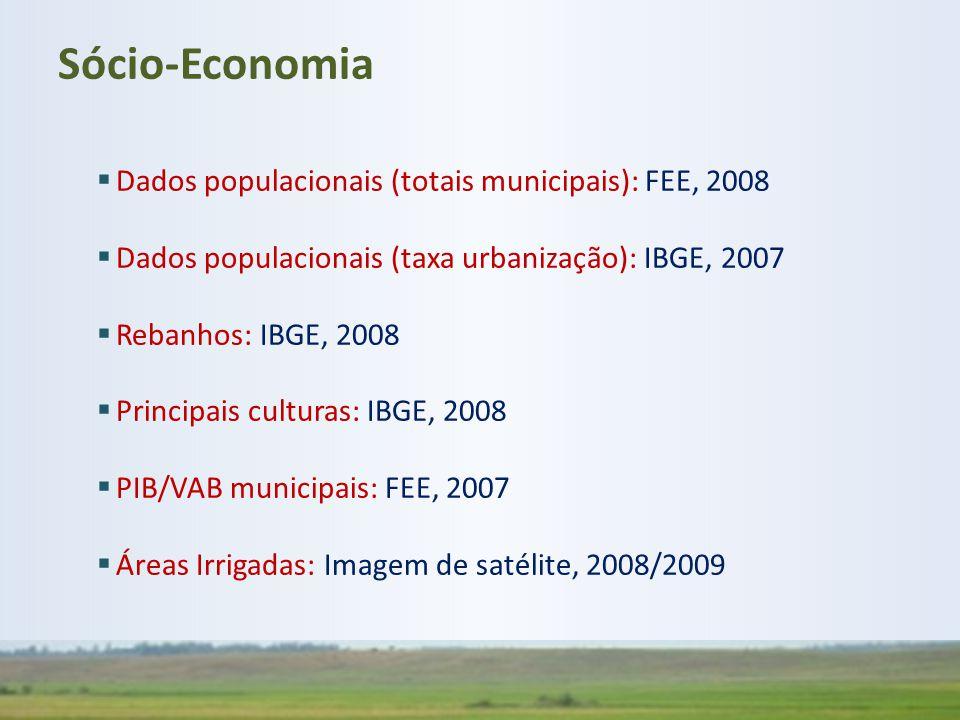 Sócio-Economia Dados populacionais (totais municipais): FEE, 2008