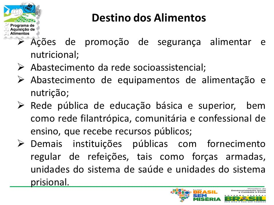 Destino dos Alimentos Ações de promoção de segurança alimentar e nutricional; Abastecimento da rede socioassistencial;