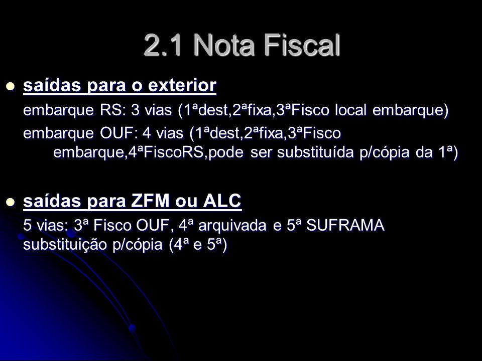 2.1 Nota Fiscal saídas para o exterior saídas para ZFM ou ALC