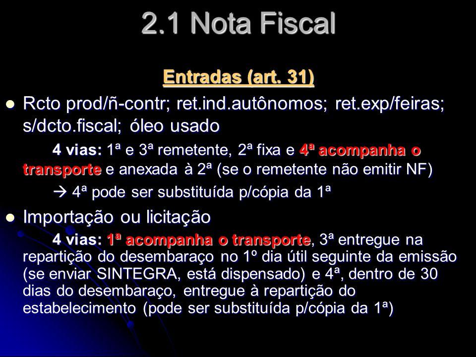 2.1 Nota Fiscal Entradas (art. 31)