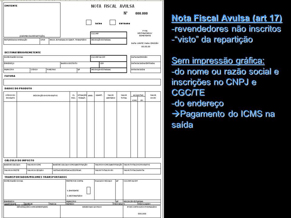 Nota Fiscal Avulsa (art 17)