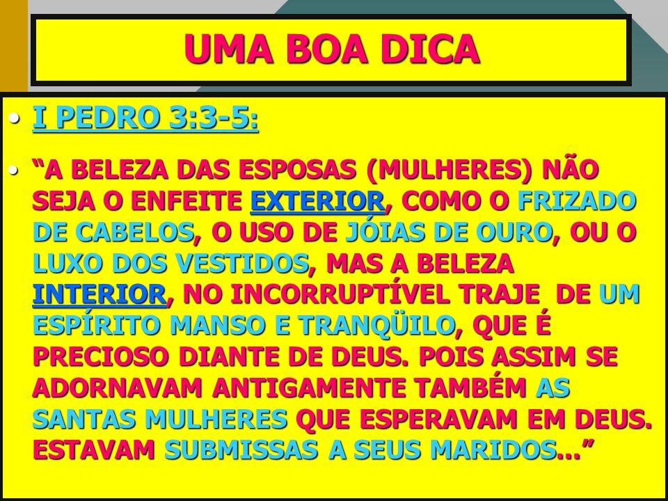 UMA BOA DICA I PEDRO 3:3-5: