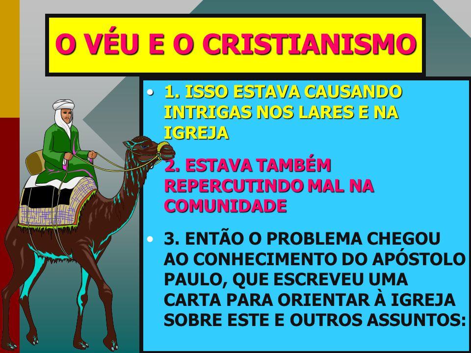 O VÉU E O CRISTIANISMO 1. ISSO ESTAVA CAUSANDO INTRIGAS NOS LARES E NA IGREJA. 2. ESTAVA TAMBÉM REPERCUTINDO MAL NA COMUNIDADE.