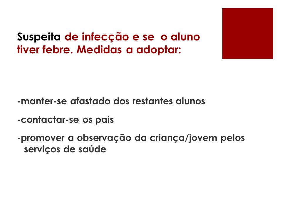 Suspeita de infecção e se o aluno tiver febre. Medidas a adoptar: