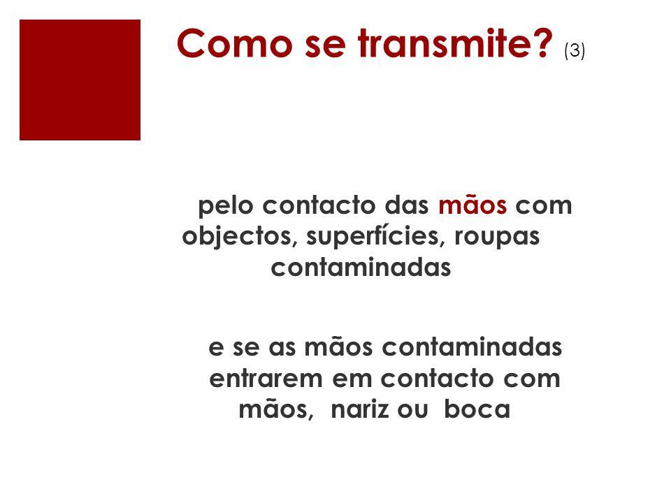 Como se transmite (3) pelo contacto das mãos com objectos, superfícies, roupas contaminadas. e se as mãos contaminadas.