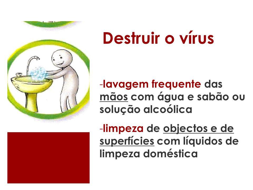 Destruir o vírus lavagem frequente das mãos com água e sabão ou solução alcoólica.