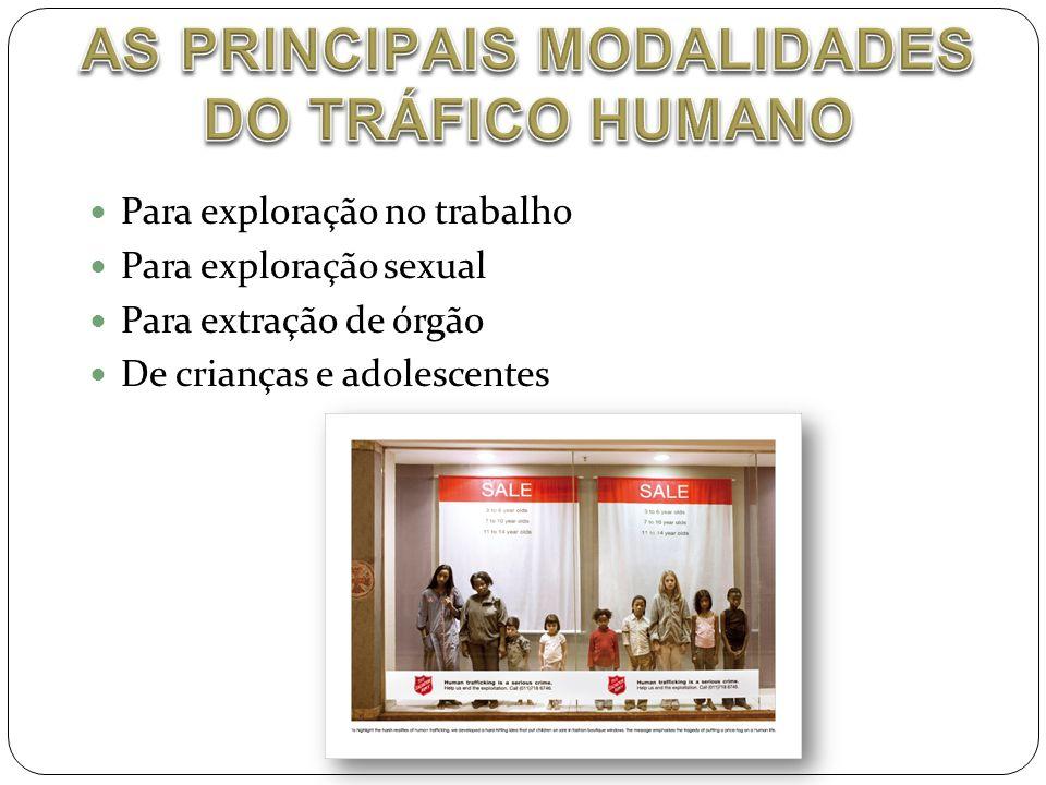 AS PRINCIPAIS MODALIDADES DO TRÁFICO HUMANO