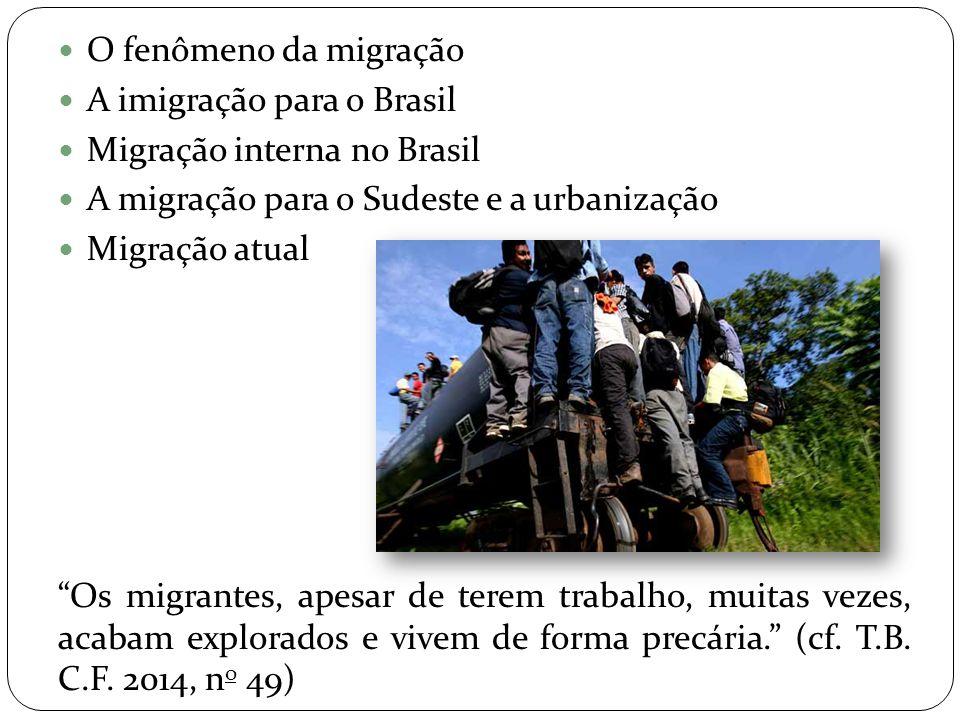 O fenômeno da migração A imigração para o Brasil. Migração interna no Brasil. A migração para o Sudeste e a urbanização.