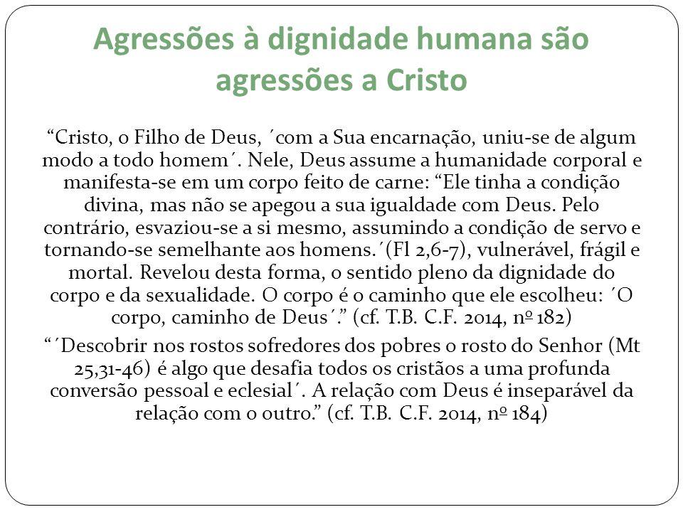 Agressões à dignidade humana são agressões a Cristo