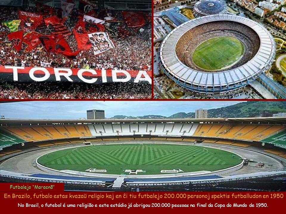 . Futbalejo Maracnã En Brazilo, futbalo estas kvazaŭ religio kaj en ĉi tiu futbalejo 200.000 personoj spektis futballudon en 1950.