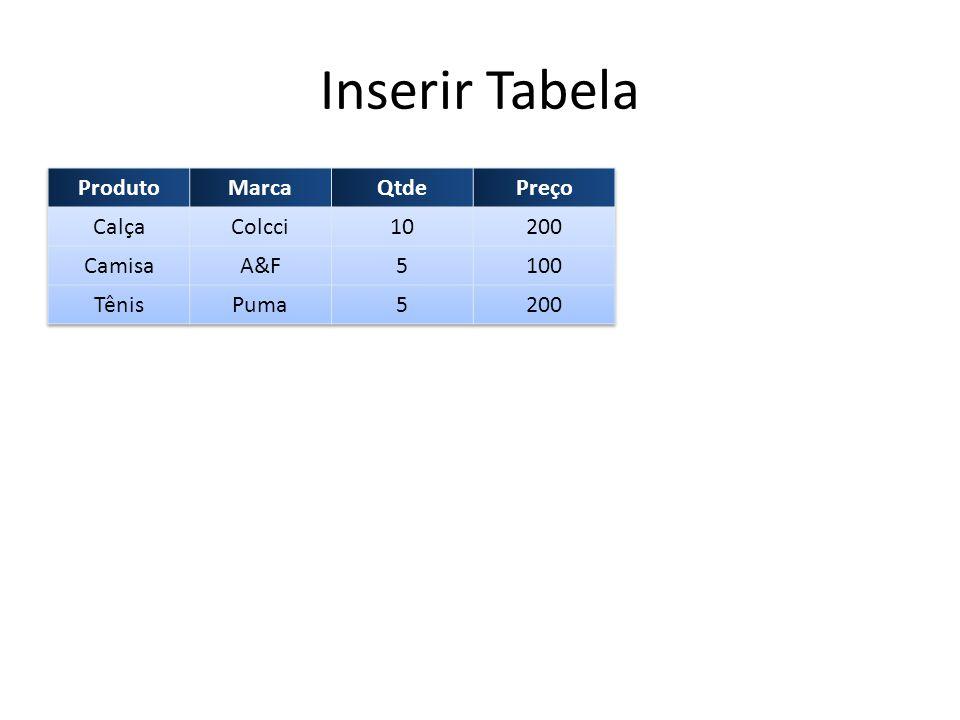 Inserir Tabela Produto Marca Qtde Preço Calça Colcci 10 200 Camisa A&F