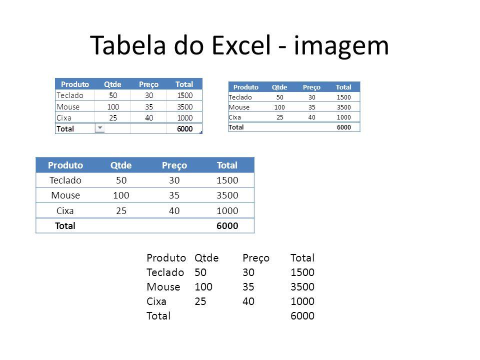 Tabela do Excel - imagem