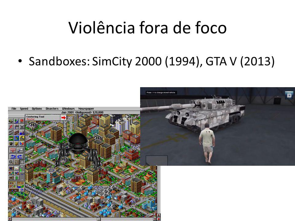 Violência fora de foco Sandboxes: SimCity 2000 (1994), GTA V (2013)