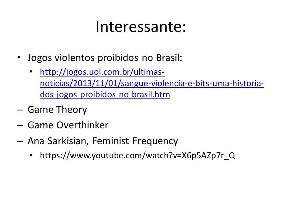 Interessante: Jogos violentos proibidos no Brasil: Game Theory