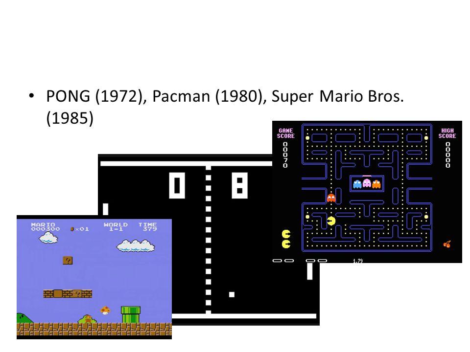 PONG (1972), Pacman (1980), Super Mario Bros. (1985)