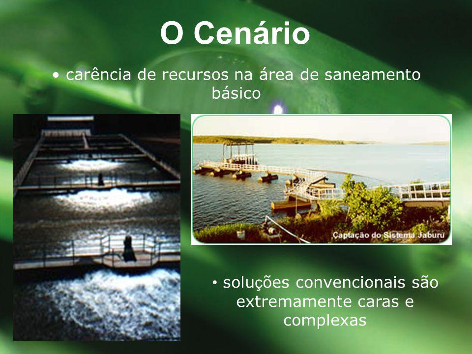 O Cenário • carência de recursos na área de saneamento básico