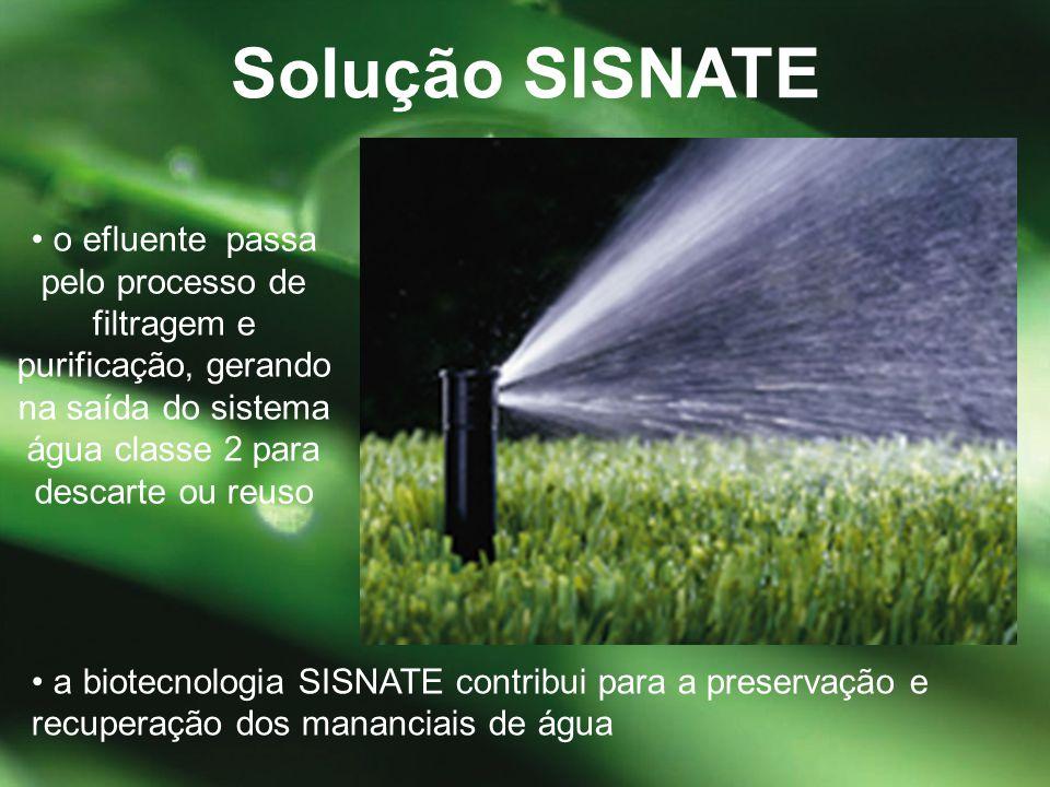 Solução SISNATE • o efluente passa pelo processo de filtragem e purificação, gerando na saída do sistema água classe 2 para descarte ou reuso.
