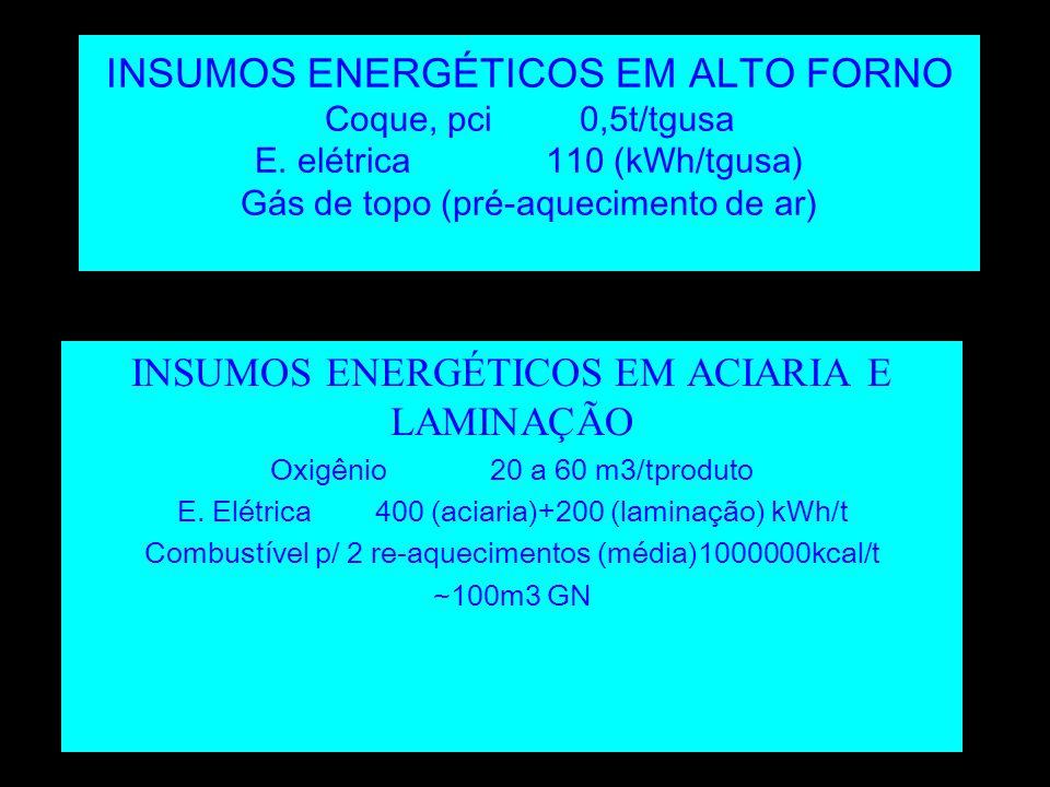 INSUMOS ENERGÉTICOS EM ACIARIA E LAMINAÇÃO
