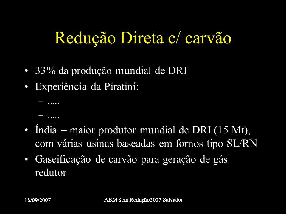Redução Direta c/ carvão