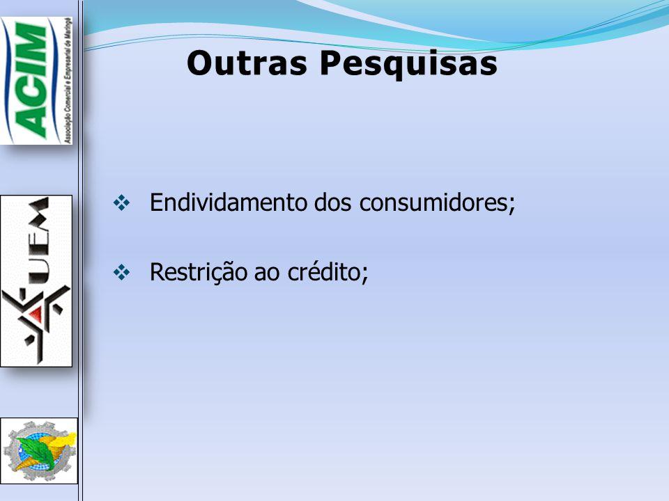Outras Pesquisas Endividamento dos consumidores; Restrição ao crédito;