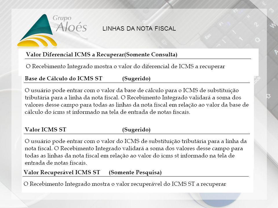 LINHAS DA NOTA FISCAL