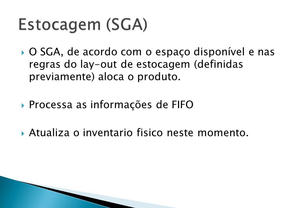 Estocagem (SGA) O SGA, de acordo com o espaço disponível e nas regras do lay-out de estocagem (definidas previamente) aloca o produto.