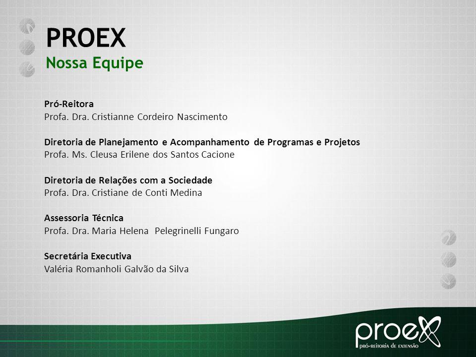 PROEX Nossa Equipe Pró-Reitora