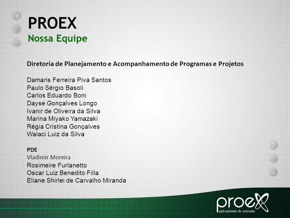 PROEX Nossa Equipe. Diretoria de Planejamento e Acompanhamento de Programas e Projetos. Damaris Ferreira Piva Santos.