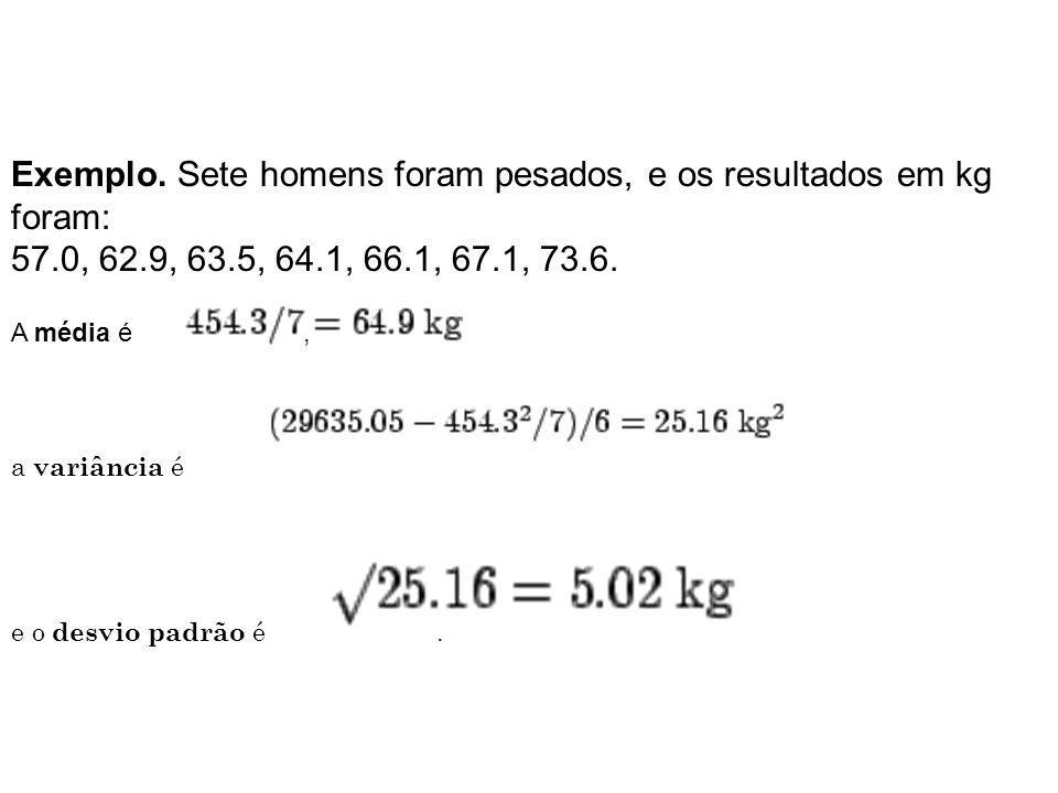 Exemplo. Sete homens foram pesados, e os resultados em kg foram: