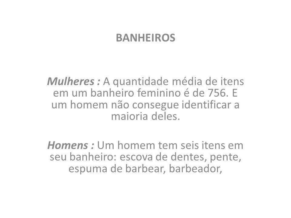 BANHEIROS Mulheres : A quantidade média de itens em um banheiro feminino é de 756. E um homem não consegue identificar a maioria deles.