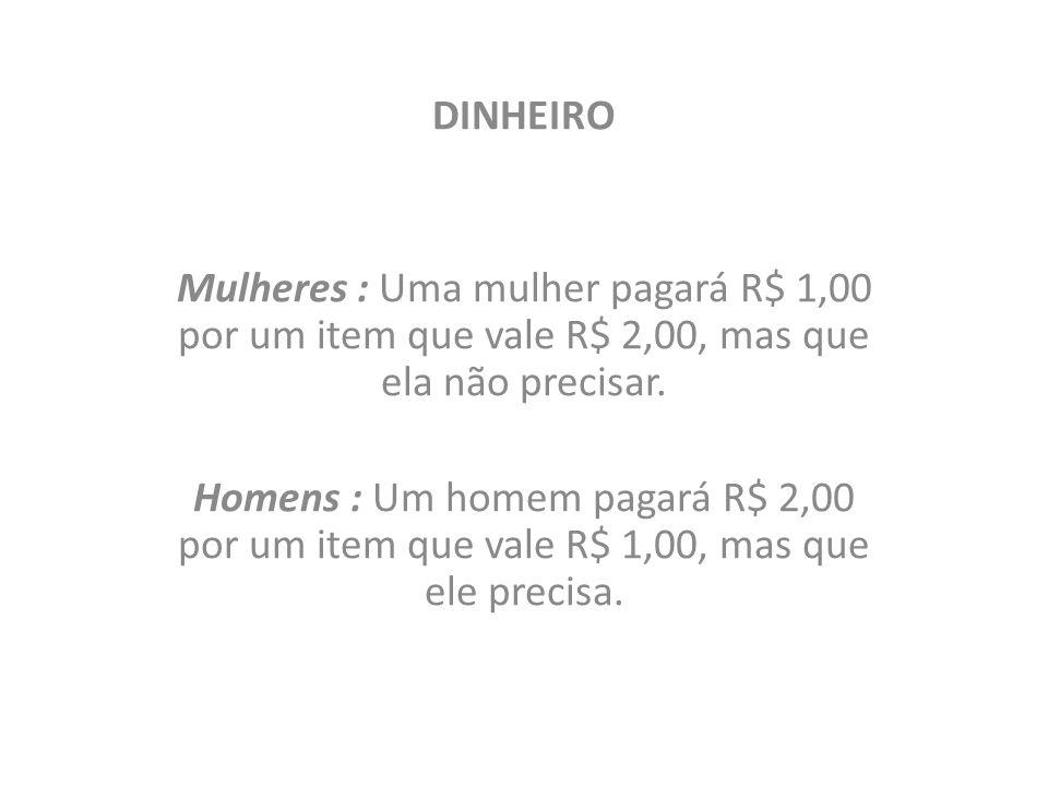 DINHEIRO Mulheres : Uma mulher pagará R$ 1,00 por um item que vale R$ 2,00, mas que ela não precisar.