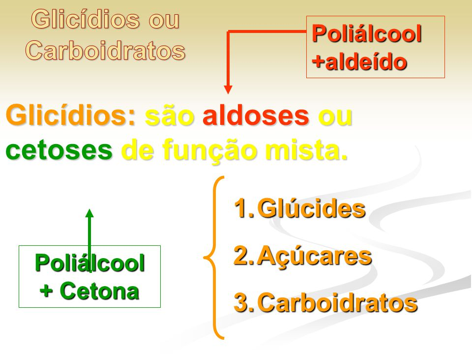 Glicídios ou Carboidratos