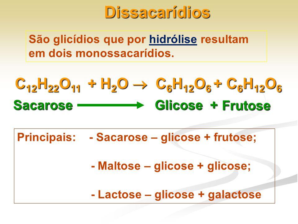 Dissacarídios C12H22O11 + H2O  C6H12O6 + C6H12O6 Sacarose Glicose +