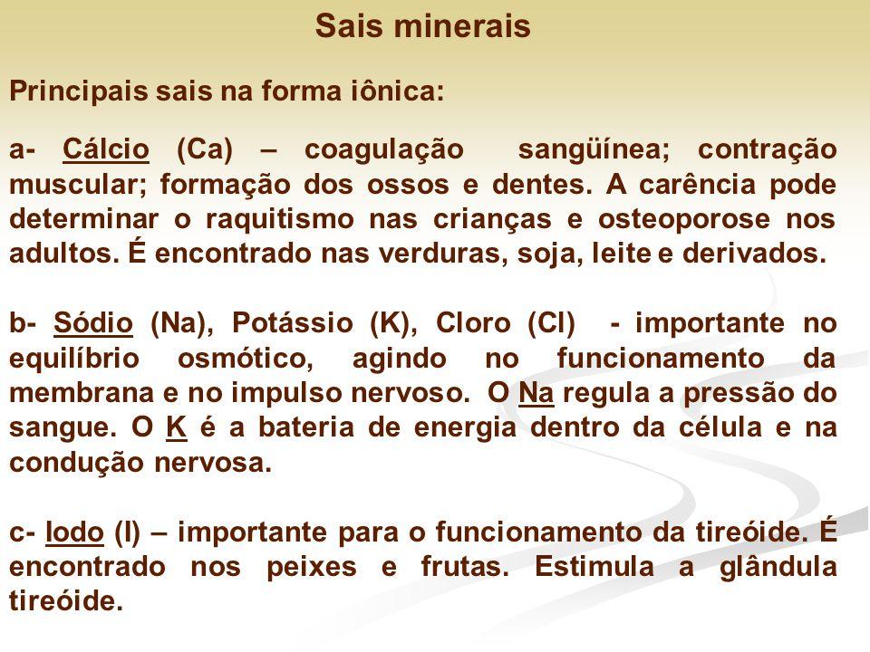 Sais minerais Principais sais na forma iônica: