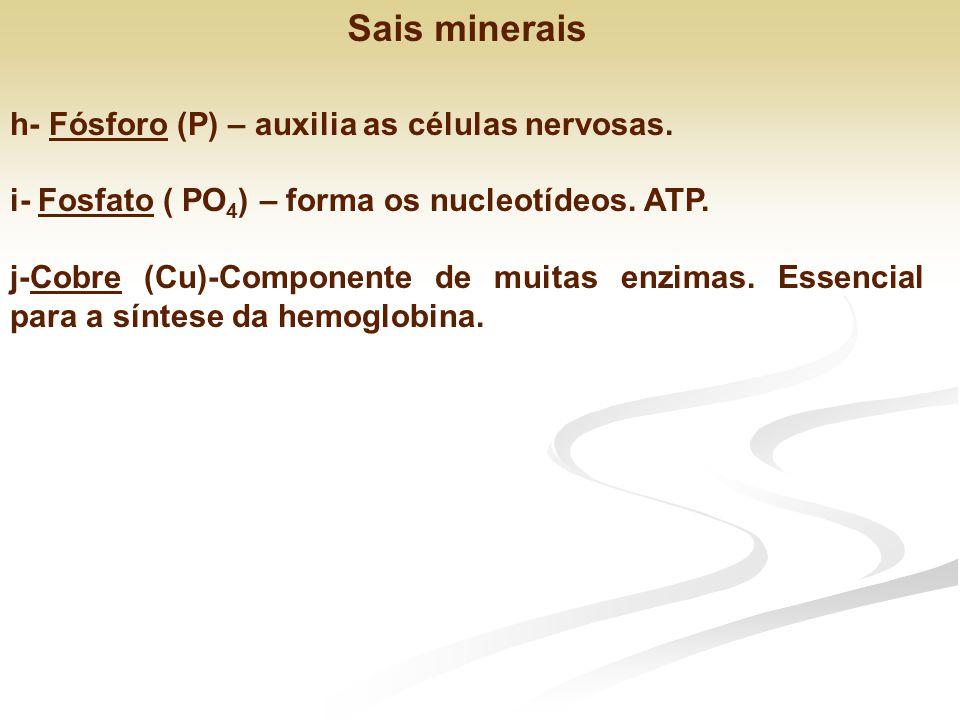 Sais minerais h- Fósforo (P) – auxilia as células nervosas.