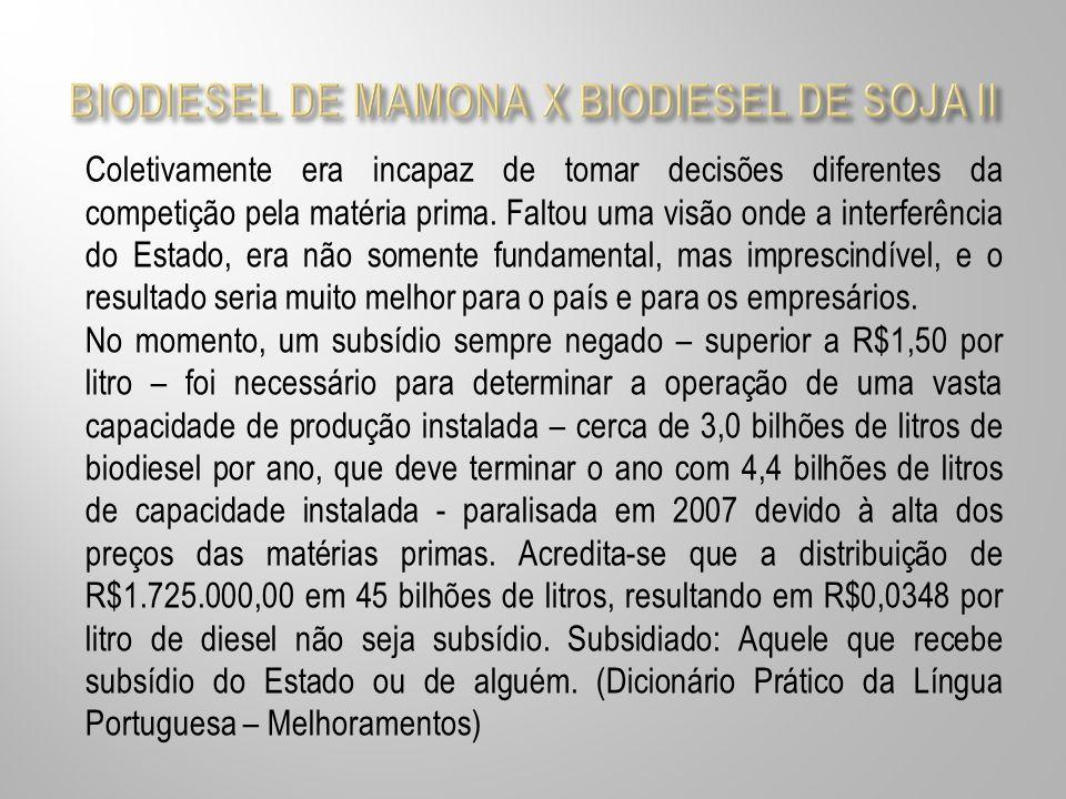 BIODIESEL DE MAMONA X BIODIESEL DE SOJA II