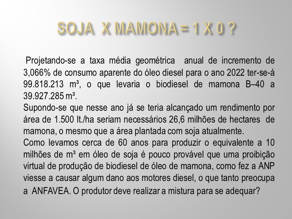 SOJA X MAMONA = 1 X 0