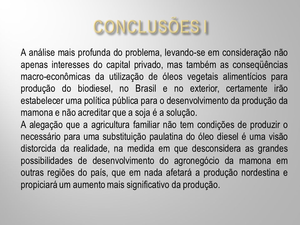 CONCLUSÕES I