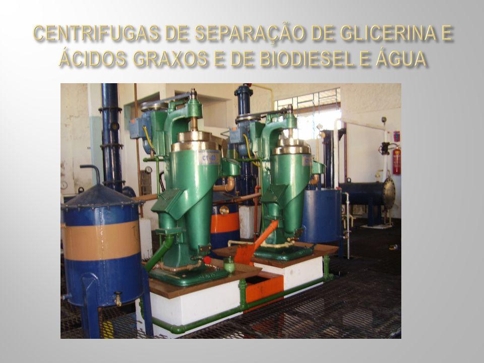 CENTRIFUGAS DE SEPARAÇÃO DE GLICERINA E ÁCIDOS GRAXOS E DE BIODIESEL E ÁGUA