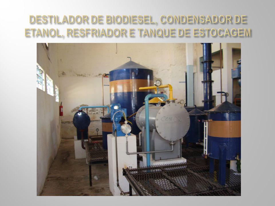 DESTILADOR DE BIODIESEL, CONDENSADOR DE ETANOL, RESFRIADOR E TANQUE DE ESTOCAGEM